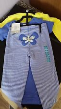Carters Baby Blue/Yellow 3 Piece Set with Butterfly Motif - 24 Months