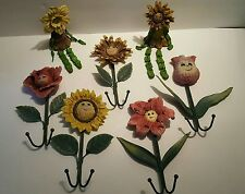 Retro Wall Mounted Face Flower Coat Robe Hanging Hook Clothes Hanger Towel