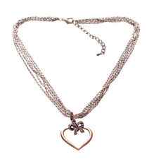 Enigmatic & Cute Multichain Rustic Copper Heart/love & Pink Bow Necklace(Zx187)