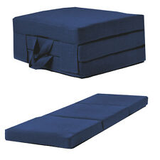 Blue Linen Effect Single Chair Z Bed Folding Futon Fold Out Foam Guest Mattress