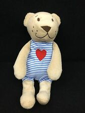 "Ikea Fabler Bjorn Teddy Bear Red Heart Blue Stripe Baby Soft Plush 9"" Toy Lovey"