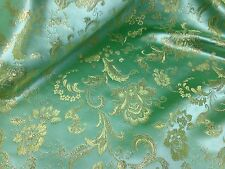 "SAGE GEEEN /GOLD FLORAL METALLIC BROCADE 45"" WIDE 1 YARD"