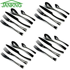 20 Piece/4 Set 18/10 Stainless Steel Cutlery Set Knives Dessert Fork Spoon Black