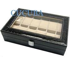 BOX SCATOLA CUSTODIA LEOPARDATO C/VETRINA PORTAOROLOGI IN ECOPELLE 12 POSTI (b4)