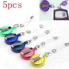 5pcs Retractable Reel ID Badge Key Card Lanyard Name Tag Holder Belt Clip TOOL