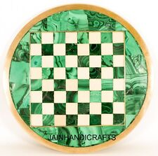 2'X2' White Marble Chess Board with Unique Hand Inlaid Pattern Beautiful Z10