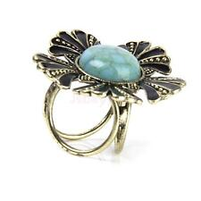 Vintage Turquoise Flower Three Ring Silk Scarf Holder Clip Buckle Jewelry