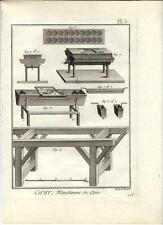 Stampa antica LAVORAZIONE DELLA CERA Pl. 3 Enciclopedia Diderot 1783 Old print
