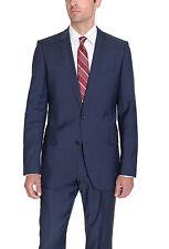 Hugo Boss Aamon/Hago Slim Fit 46L 56T Blue Tic Weave Two Button Wool Suit