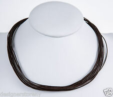 Bat-Ami Brown multi row leather necklace cords w/Sterling Silver Back Closure