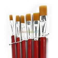 6pcs Red Artist Bristles Paint Brushes Watercolor Acrylic Oil Painting Supplies