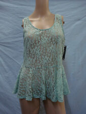 NWT Women's Victoria Lace Tank Top Size Large Mint Green #647A