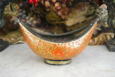 WONDERFUL EARLY BRASS AND WOOD HAND PAINTED RUSSIAN STYLE BOAT SHAPE BOWL