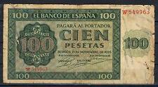 ESPAÑA 100 PESETAS 1936 EMISIÓN DE BURGOS Pick 101 Flojo 963