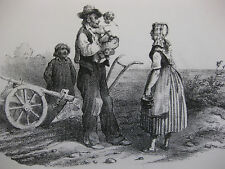 Lithographie ancienne originale Bellangé costumes romantisme Labour Bourgeois