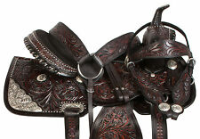 "15"" 16"" 17"" WESTERN BLACK SILVER BARREL SHOW TRAIL HORSE LEATHER SADDLE TACK SET"