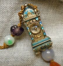 Antique Chinese Enameled Silver Miniature Clock Form Compass - Beads Knot Tassel
