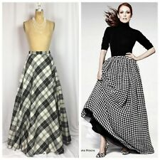 Talbots Silk Dupioni Taffeta Black & White Check Plaid Maxi Ball Skirt. Size 4
