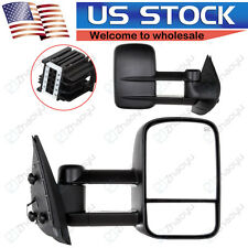 For 07-14 Chevy GMC Truck Door Side Mirror Power Heated Towing Mirrors Pair Set