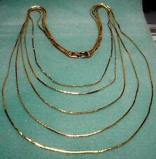 Vintage Monet 5 Strand Tier Gold Plated Chain Necklace