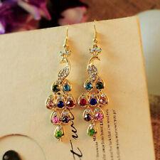 Fashion Women Peacock Rhinestone Elegant Drop Dangle Ear Stud Earrings Jewelry