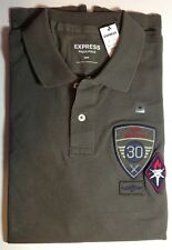 NWT【 S 】Express Men's Military Patch Embellished Pique Polo Shirt OLIVE GREEN