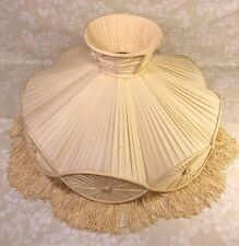 Vintage Silk Fabric Lamp Shade w/ Tassels for Figural Lamp No Makers Mark