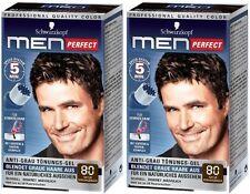 2 x Schwarzkopf Men Perfect - For Men - Gentle Hair Color Gel - Black Brown 80