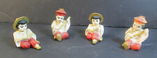 "2 PAIRS OF VINTAGE HAND PAINTED CHINESE CHALKWARE FIGURINES 2.25"" TALL"