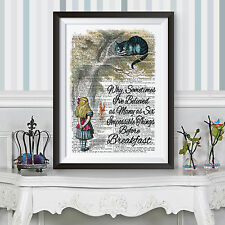 ALICE IN WONDERLAND poster print Blue Cheshire Cat WALL HANGINGS DICTIONARY