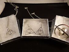 USA-3pc Harry Potter,Silver Time Turner, Silver Deathly Hallow,Necklace,earring,