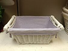 Teen Kids Rattan Easter Organize Storage Decor Basket & Lilac Gingham Liner