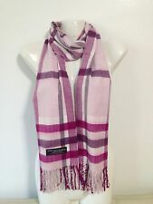 CASHMERE SCARF PLAID DESIGN4 COLOR PINK SUPER SOFT UNISEX