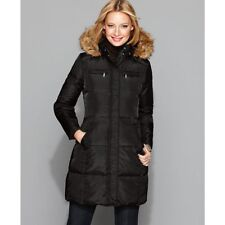 Michael Kors Womens Ladies Black Small Puffer Jacket Coat Faux Fur Down Small