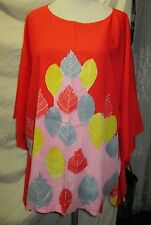 Beautiful Batik  Caftan Kaftan hand drawn Fuji  rayon top size 48