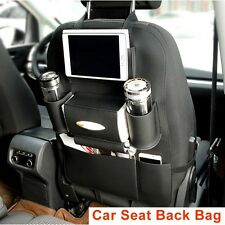 BLACK- Car Seat Back Bag Organizer Storage Cup iPad Phone Holder Pocket Leather