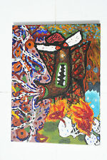 """Colorful Abstract Oil Painting Canvas Angry Smoking Pipe Effigy Flames 16"""" x 12"""""""