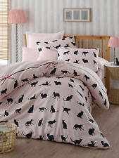 Luxury Bedding Set Single Duvet Quilt Cover Cat Animal Pink Kitty Girls Linen
