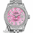 Ladies Rolex Datejust 26mm Steel Pink Flower MOP Color Diamond Dial Watch