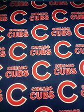 Chicago Cubs Blue and Red Baseball Fabric - BHY