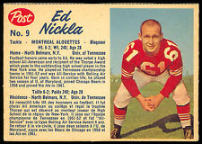 1962 POST FOOTBALL CFL #9 ED NICKLA EX+ MONTREAL ALOUETTES UNIV OF TENNESSEE
