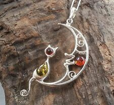 Sterling Silver Baltic Amber Cat on Moon Pendant Necklace