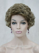 Excellent Brown blonde Mixed Short Curly Women Ladies Daily wig FTTLD082