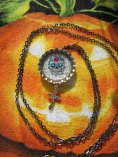 "Day Of The Dead Necklace 36"" Inch Gun Metal Black Chain"