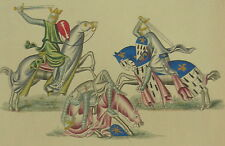1260 Knights Fighting Battle Henry Shaw 1858 Hand Coloured Print