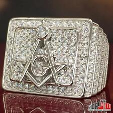 Mens White Gold Finish .925 Silver Free Mason Symbol Ring Presidential Size 9