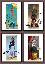 Complete set of 4 JAWS / Disney HAUNTED MANSION Mashup Art PRINTS - ON SALE!