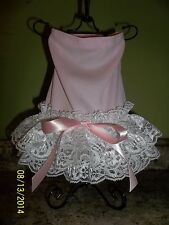 Baby Pink and Lace female dog clothes, dress sz Medium (M).US seller.