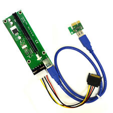 Version 6 PCIe PCI-E Express 1X to 16X 60cm USB Riser Adapter w/ SATA Power