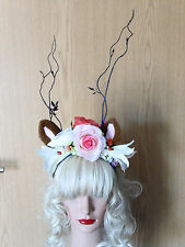 Stunning Fairy Pixie Fawn Antler Crown Head Band Piece Festivals Summer Fae (3)